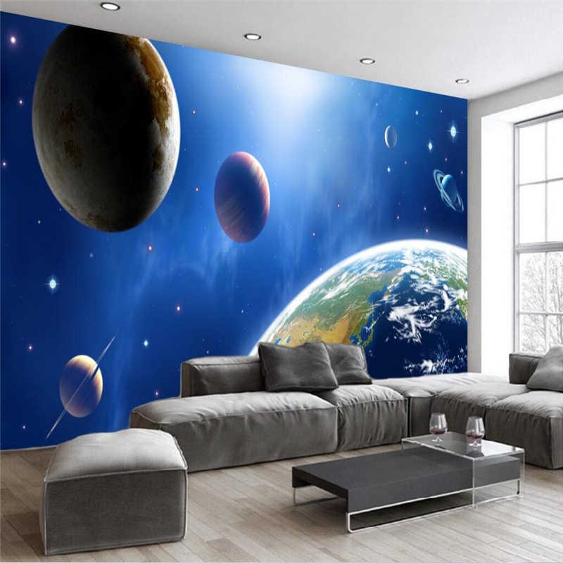 Beibehang Kustom 3D Fantasi Berbintang Pohon Bunga dan Burung Alam Semesta Galaxy Planet Foto Wallpaper Lukisan.jpg q50