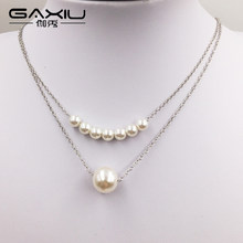 Simulated Pearl Necklaces Pendants For Women Gold Silver Color Long Chain Female Pendant Necklace Fashion Jewelry Collier Femme(China)