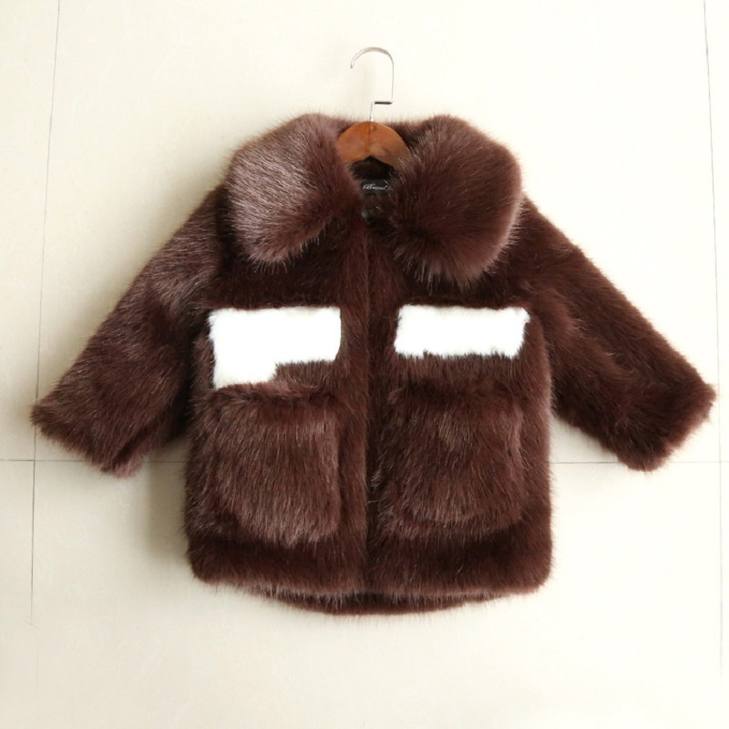 JKP Winter long children imitation mink fur coat boys and girls cute fashion warm cotton coat baby fur Jackets Outerwear FPC-41 цена