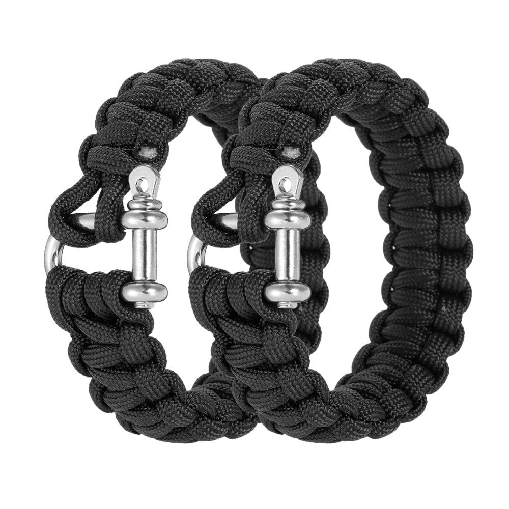 2PCS Pair Survival Paracord Bracelet Outdoor Nylon Camping Handmade Woven Buckle Adjustable Brazaletes Pulseras Emergency Rope in Outdoor Tools from Sports Entertainment