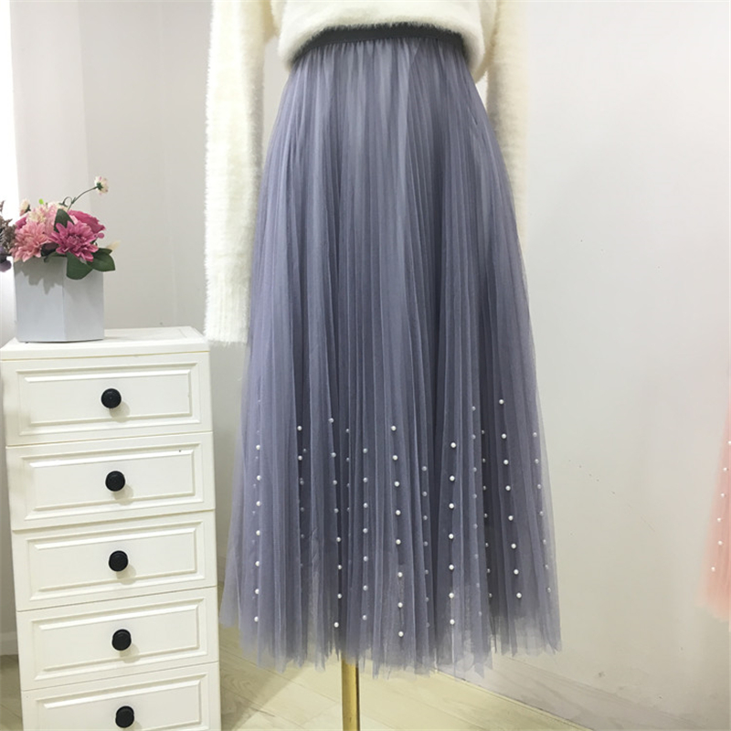 New 2019 Spring Summer Skirts Womens Beading Mesh Tulle Skirt Women Elastic High Waist A Line Mid Calf Midi Long Pleated Skirt 20