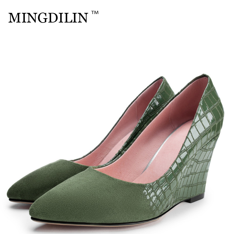MINGDILIN Sexy Women's Genuine Leather Wedges Shoes Woman High Heels Shoes Plus Size 33 42 Wedding Party Wedges Pumps Stiletto cocoafoal woman green high heels shoes plus size 33 43 sexy stiletto red wedding shoes genuine leather pointed toe pumps 2018