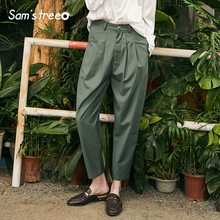 Stylish Casual Women Pants Solid Vintage Woman Trousers New High Waist Straight Ladies Femme