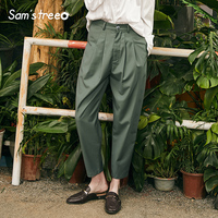 Stylish Casual Women Pants Solid Vintage Woman Trousers New High Waist Straight Ladies Pants Femme Pants