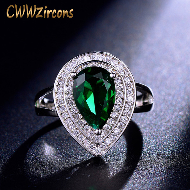 CWWZircons Classic Women Engagement Party Jewelry High Quality Big Tear Drop Gre