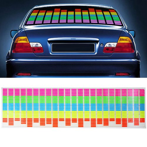 CYAN SOIL BAY Car Sticker Music Rhythm LED Flash Light Lamp Sound Activated Equalizer 90x25cm car light 1pcs 2pcs 45x11cm car music rhythm led flash light lamp sound activated equalizer car light panel lamp 1219