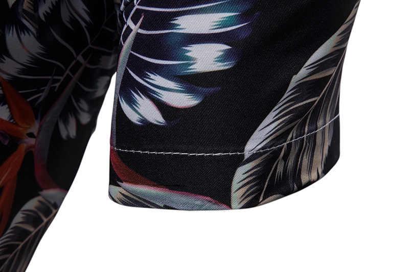 Летняя стильная гавайская рубашка с принтом в виде листьев 2019 года, Брендовые мужские повседневные рубашки с короткими рукавами на пуговицах, Пляжная рубашка Aloha 3XL