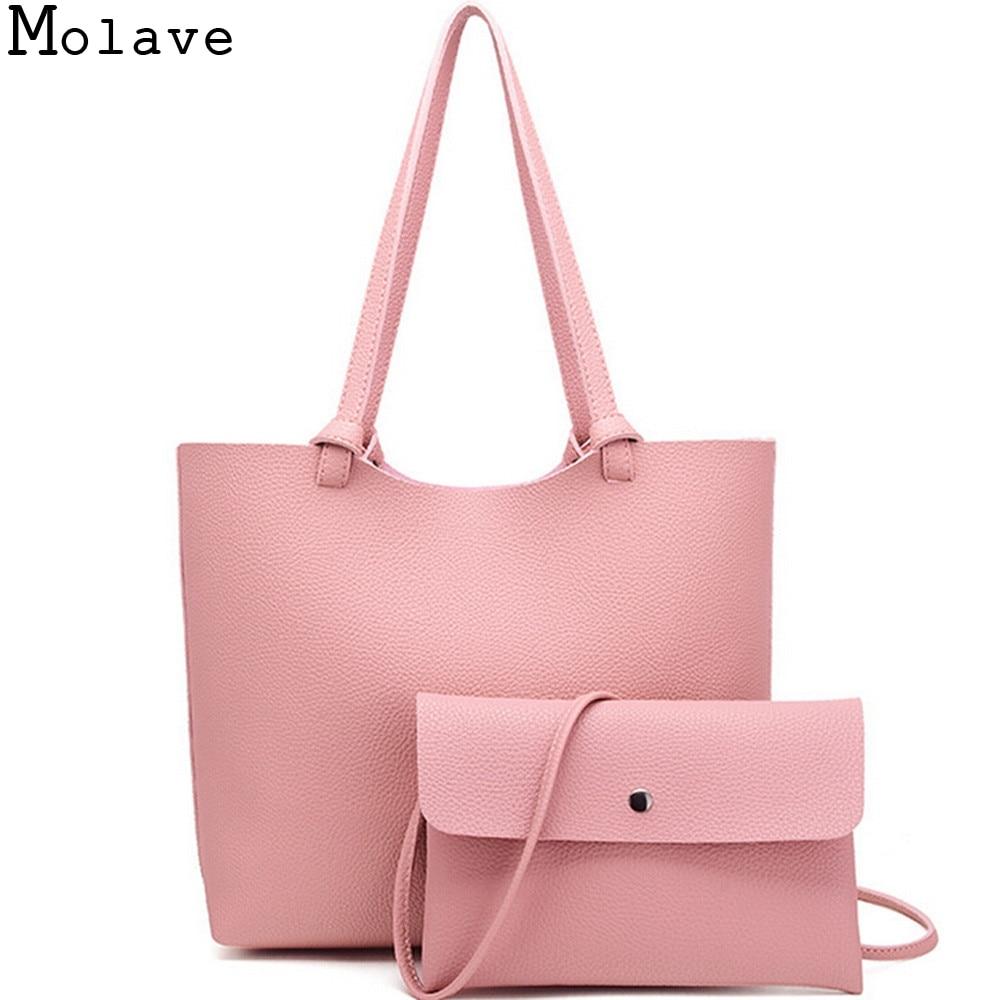 New Women Composite Litchi Stria Pu Leather Handbag Female Elegant Candy Colors Shoulder Bag Ladies Sweet Shopping Totes Dec14