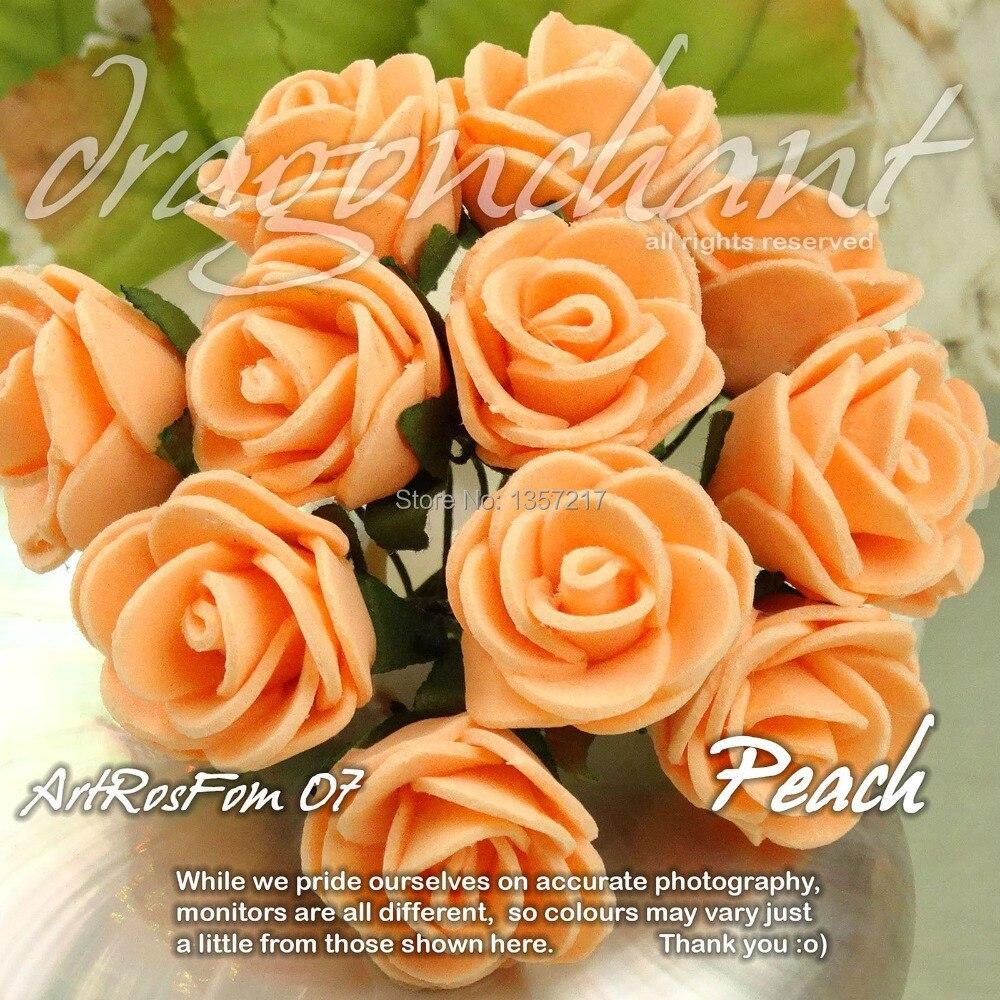 Wholesale Solid Peach Color Size 20mm Head Pe Rose Foam Flower