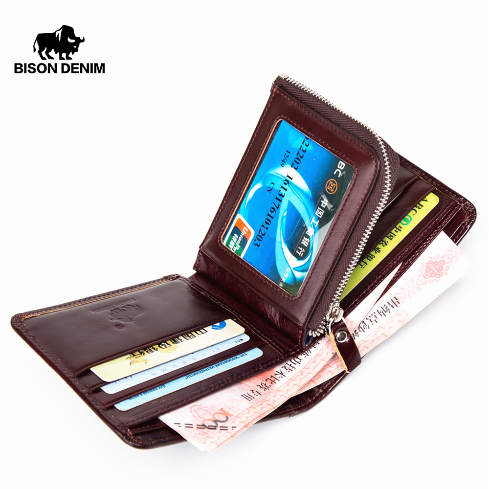 BISON DENIM Genuine Leather Wallet Men Vintage Bifold Male Wallets with Coin Purse Male Short Wallets N4441|wallet with|male wallet|wallet with coin - title=