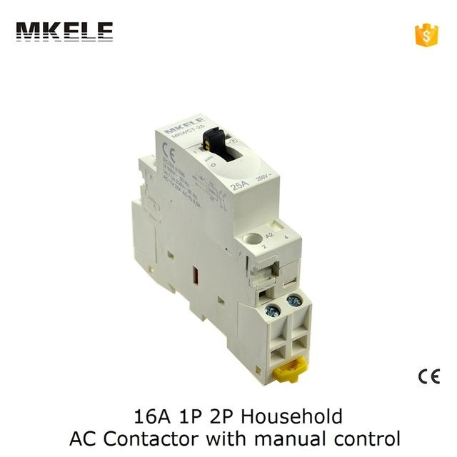 CT 16A 2P Din Rail AC Contactor coil 220V 110V 24V With Manual Control Contator Modularization 2NC