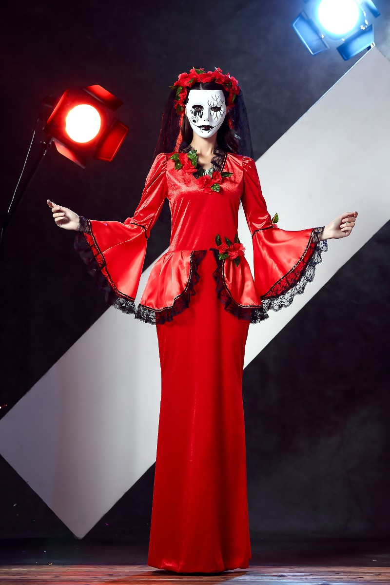 hot sexy halloween vampire cosplay costumes sets red dress ghost bride costume for adult women scary - Scary Vampire Halloween Costumes