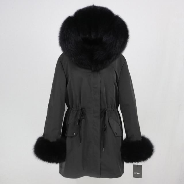 OFTBUY 2019 fashion winter jacket women real fur coat natural real fox fur collar loose long parkas big fur outerwear Detachable 4