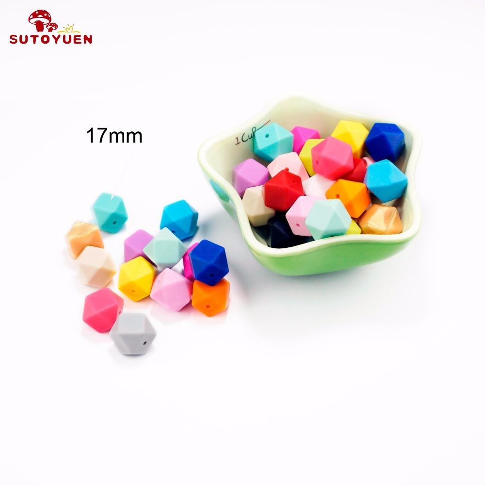 20szt 17mm BPA Free Hexagon Silicone Beads for Teether Silikonowy - Opieka nad dzieckiem - Zdjęcie 2