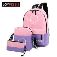 Hot 3Pcs Sets Womens Man Luminous Backpacks Canvas School Book Bags Computer Backpack High Quality Student