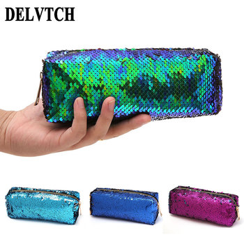 Large Capacity Zipper Reversible Sequin Pencil Case Pen Bag Box Makeup Storage Bag Office School Organizer Stationery Supplies 1 pc lovely annoy shiba dog pu large pencil case stationery storage organizer bag school office supply escolar