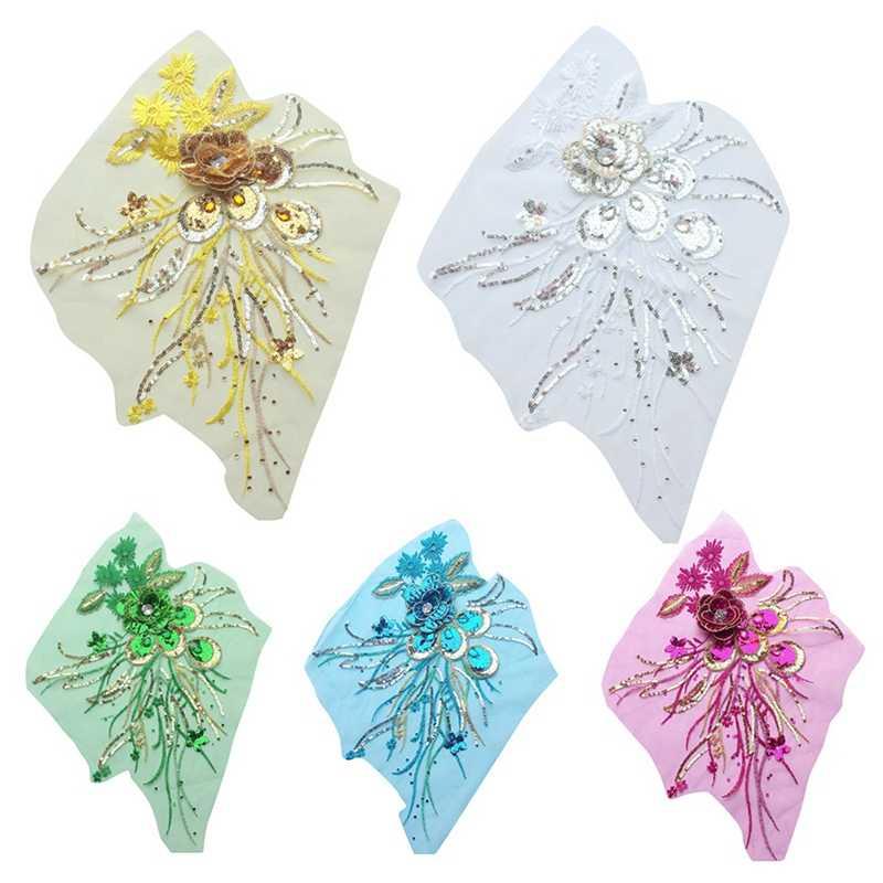 Fleur Sequin dentelle broder forage chaud mariée fleur broderie Patch appliques vêtements de mariage bricolage dentelle accessoires couture
