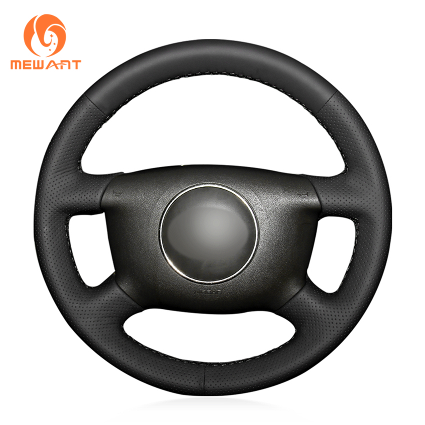 1998 Audi A8 Interior: MEWANT Black Artificial Leather Car Steering Wheel Cover