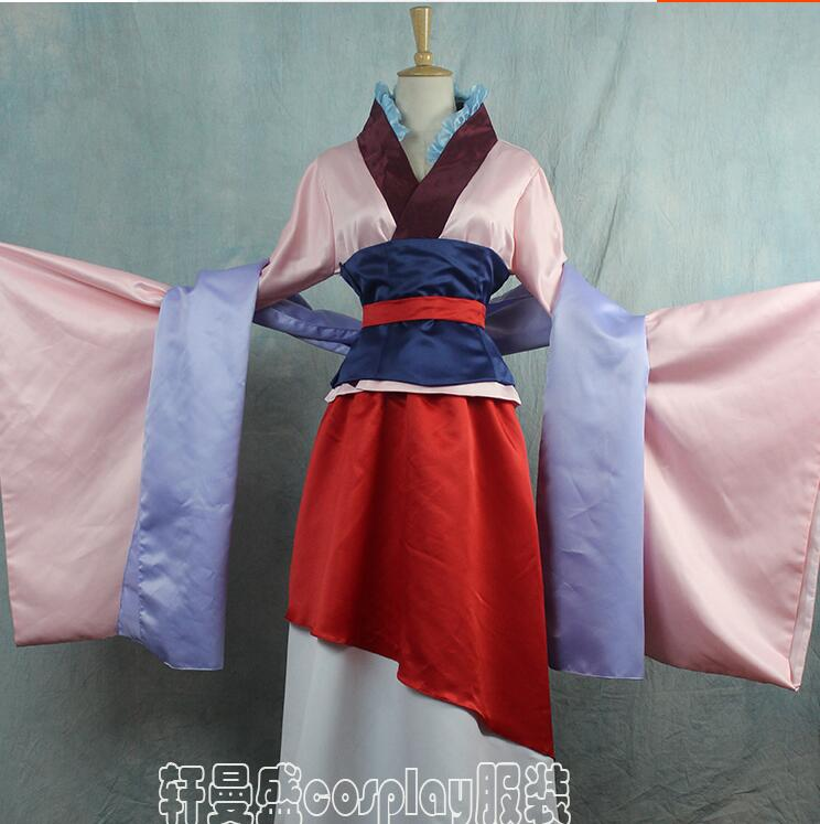 Full Set Hua Mulan Dress pink Dress for adult  china Movie hanfu Cosplay Costume