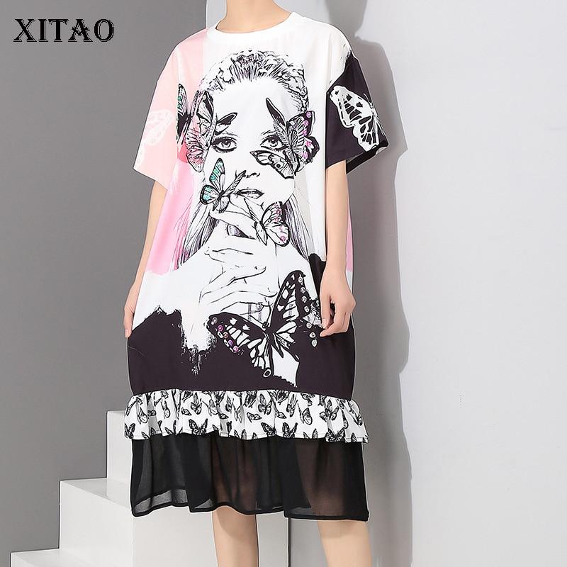 [XITAO] Europe 2018 New Summer Fashion Women Short Sleeve O-Neck Knee-Length Dress Female Character Pattern Print Dress CYW015
