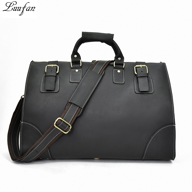 Fashion genuine leather travel bag big capacity man travel duffel handbag cow leather unisex luggage bags