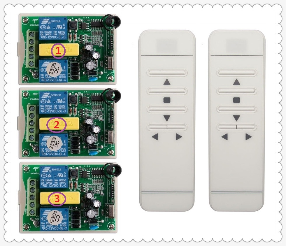 Ac 220 v intelligent digital RF wireless remote control switch system for projection screen 3* receiver + 2* transmitter 2 working ways rf wireless intelligent