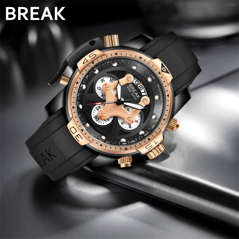 BREAK Men Unique Casual Fashion Sport Rubber Band Chronograph Quartz Waterproof Wristwatches Man Top Luxury Brand