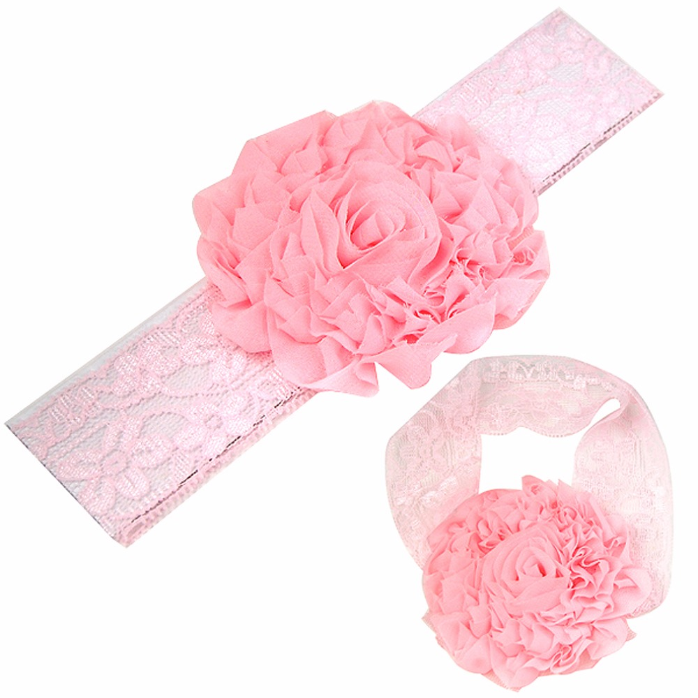 Mypf Lace Headband Little Girl With Glitter Flower Pink A547