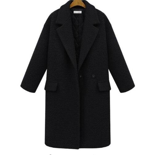 Taille La Laine Automne Noir Mode Plus Manteau Trench rouge Rouge Femmes Veste Hiver Outwear Épaississent Long Cachemire Noir 2017 Xxxl qPn4W74