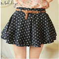 Makuluya 2016 fashion dot women skirts FREE BELT grace short chiffon skirts retro WHITE BLACK PINK good elastic skirt BSQ-85-28