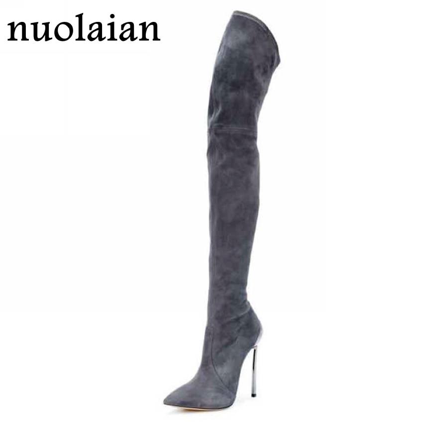 11CM <b>Over Knee</b> Stretch Thigh <b>Boots Woman</b> High <b>Heel Boots</b> ...
