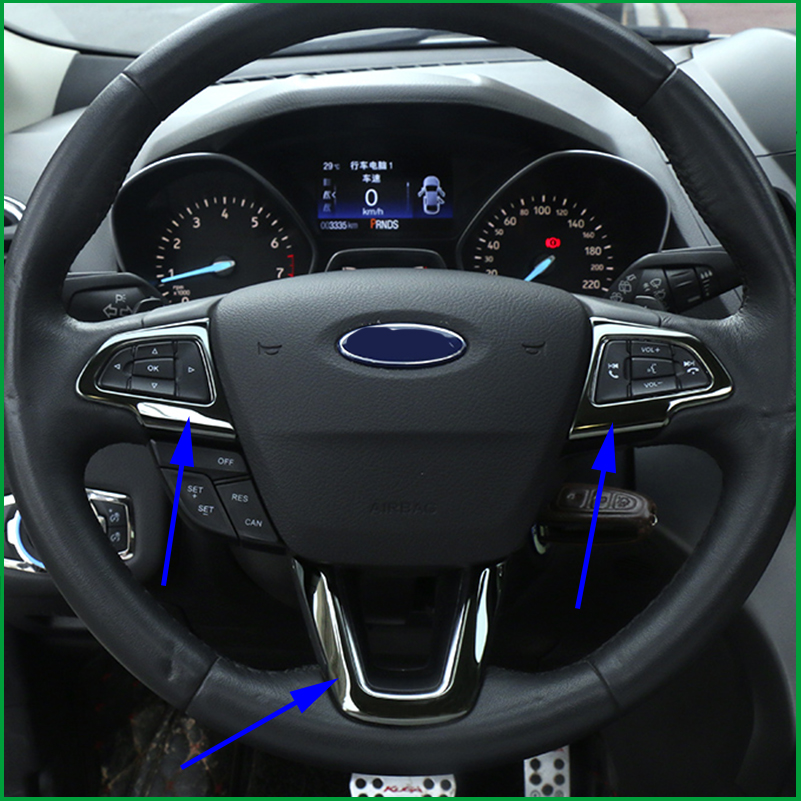 STEERING WHEEL TRIM DECAL SEQUINS COVER TRIM INTERIOR STICKER FOR FORD KUGA ESCAPE 2017 2018 ACCESSORIES CAR-STYLING