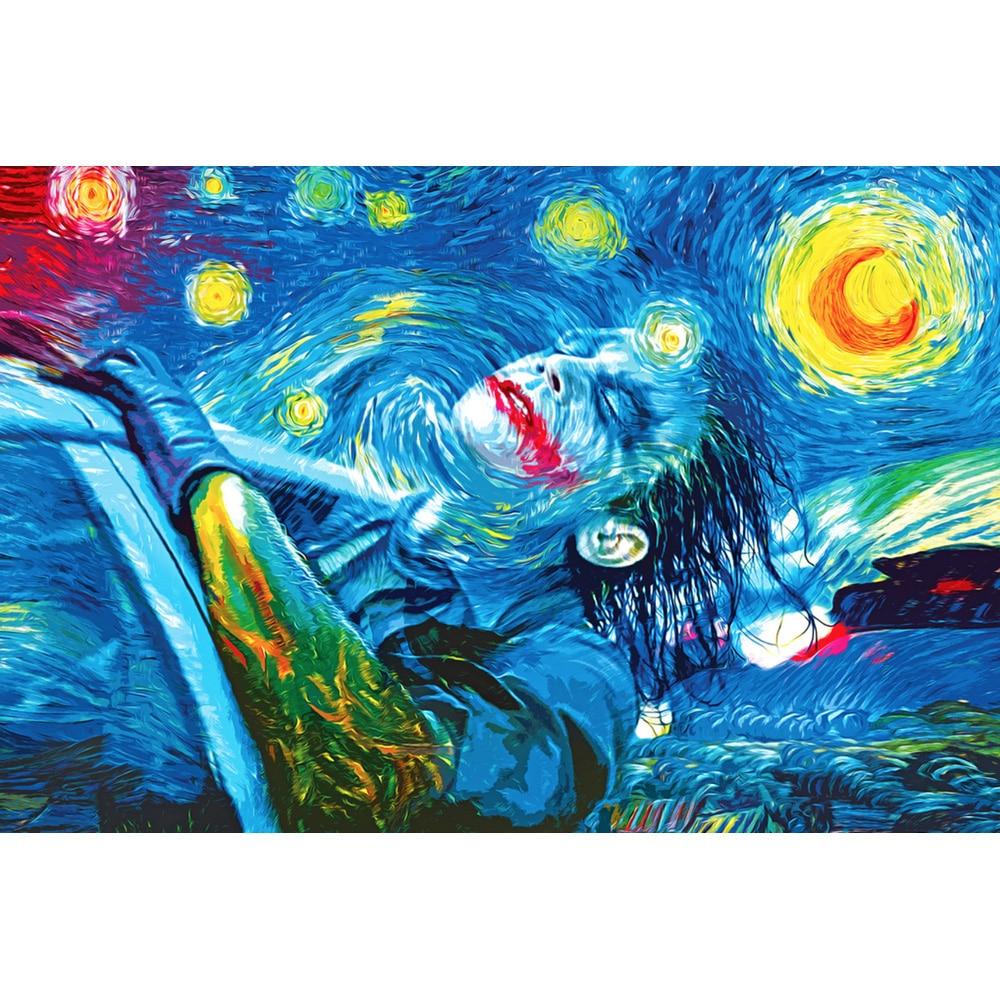 Nicoleshenting Джокер-Бэтмен Темный рыцарь супергероя фильм Книги по искусству Шелковый плакат печать трип Звездная ночь изображение Настенный д...