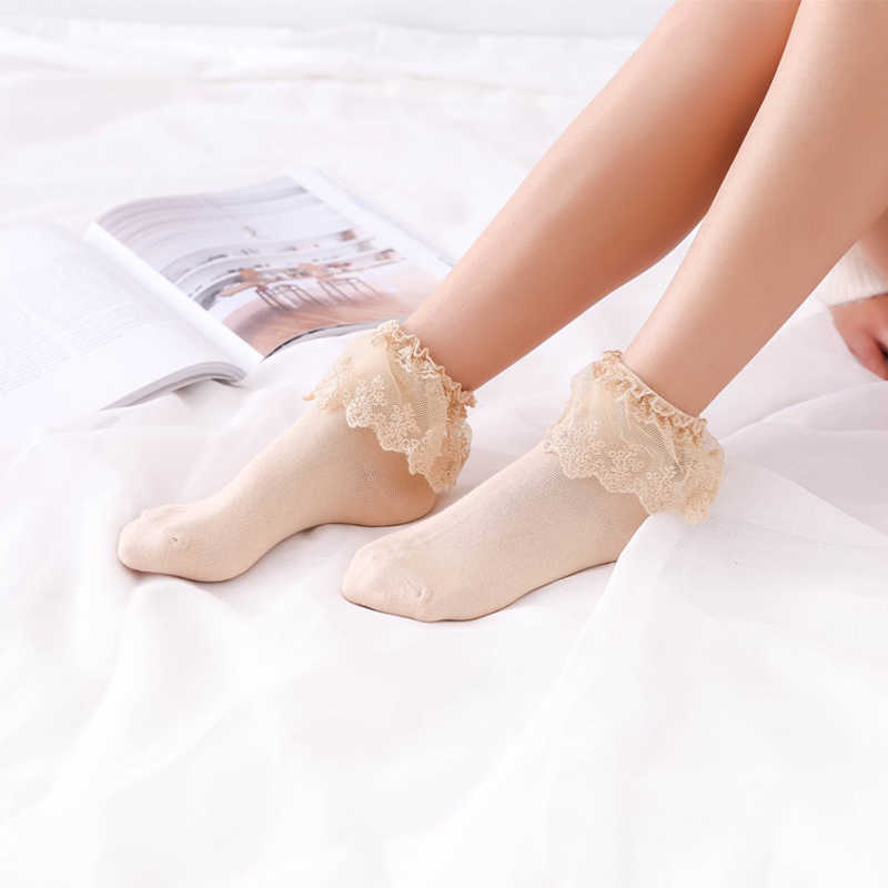 Sweet Woman Girl Lolita Ruffle Cotton Sock Lace Soft Comfortable Kids Socks Woman Girl Meias Short Sox Lovely Pregnant Socks