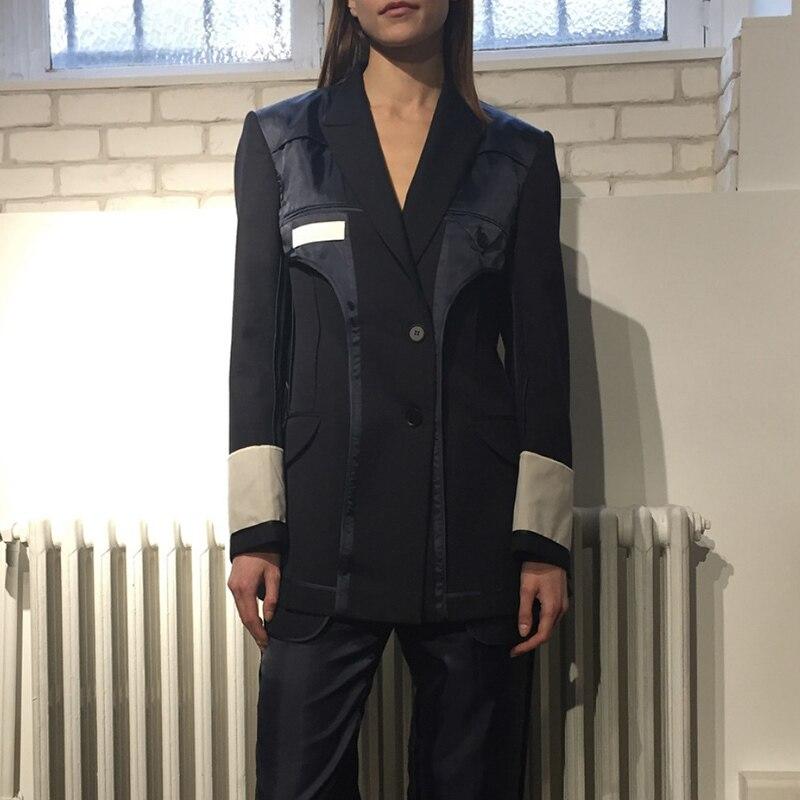 TWOTWINSTYLE Patchwork ผู้หญิง Blazer เสื้อแจ็คเก็ต Lapel เสื้อแขนยาวเสื้อ Tops หญิงเสื้อผ้าแฟชั่นสไตล์อังกฤษ 2019 ฤดูใบไม้ร่วง-ใน เสื้อเบลเซอร์ จาก เสื้อผ้าสตรี บน   2
