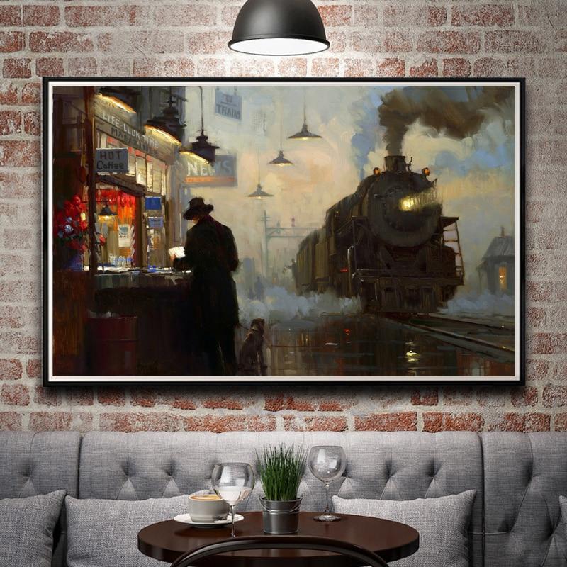 Artwork Oil Painting Train Station Train Rain Smoke Art