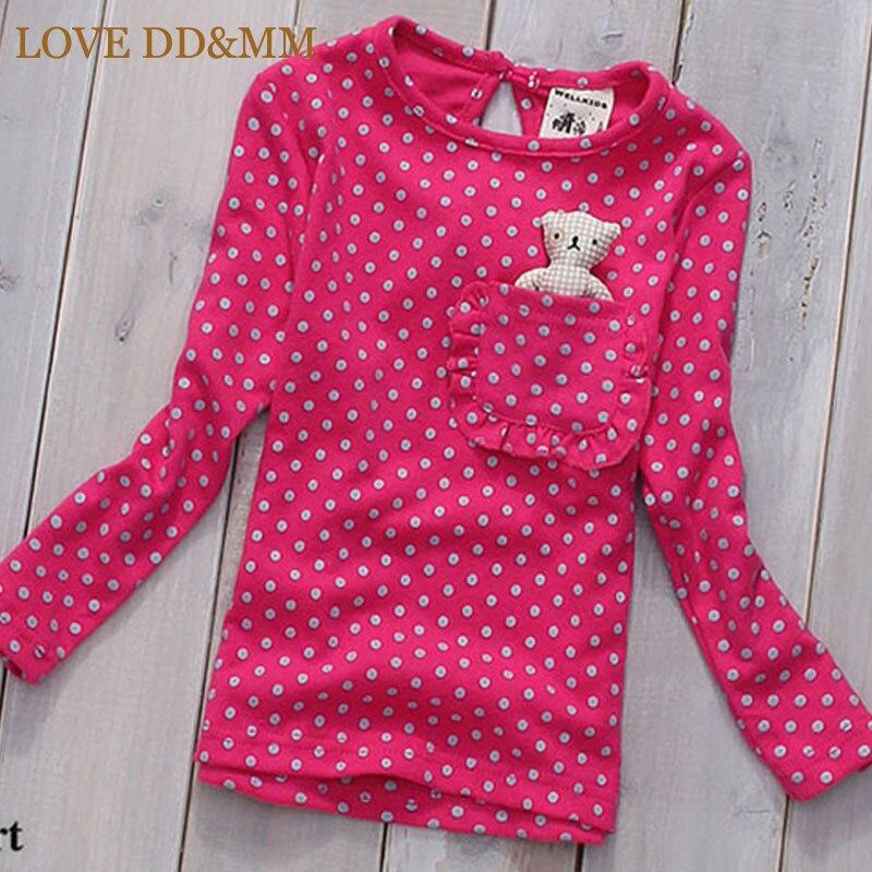 Одежда для девочек с надписью «LOVE DD& MM», футболки г., новая летняя детская одежда футболка с длинными рукавами с милым рисунком медведя в горошек и карманом для девочек - Цвет: Красный