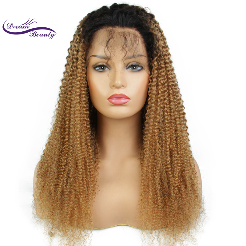 Dream Beauty Lace Front ombre honey blond color Hair Wigs Pre Plucked remy Brazilian Curly Human Hair Frontal Wig Bleached Knots