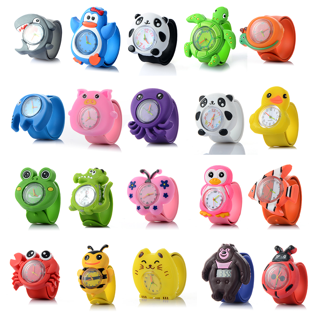 3D Kids Cartoon Watches Lovely Silicone Band Slap Watch Casual Animal Children Clock Creative Quartz Wristwatch Christmas Gift xinkai 0015 children s casual silicone band quartz analog wristwatch black red 1 x 377