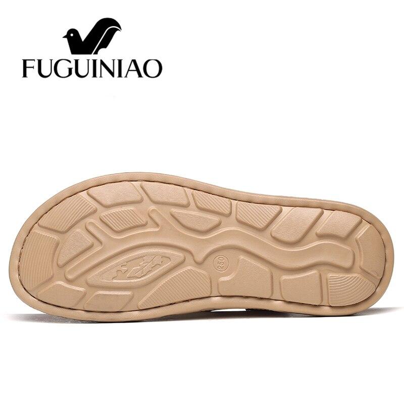 Masculino Hombre Sapato Masculina Playa Black brown Sandalia Casual Gladiador Cuero Auténtico Verano Zapatos Moda Zapatillas Hombres Sandalias OzqE1