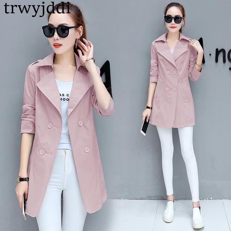 Korean Windbreaker Women Long Jackets And Coats 2018 Spring Female Coat Casual Solid Jacket Woman Basic Jackets Plus Size hl205