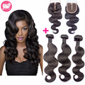 7A Peruvian Virgin Hair With Closure Body Wave 3 Bundles With Closure Human Hair Weave Peruvian Body Wave With Lace Closure 4x4