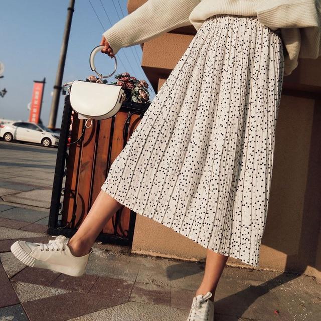 Ck644 Мода элегантный точка печати шифон плиссированные юбки Для женщин Корейский Новый 2018 весенние Стильные эластичный пояс очень Юбки для женщин
