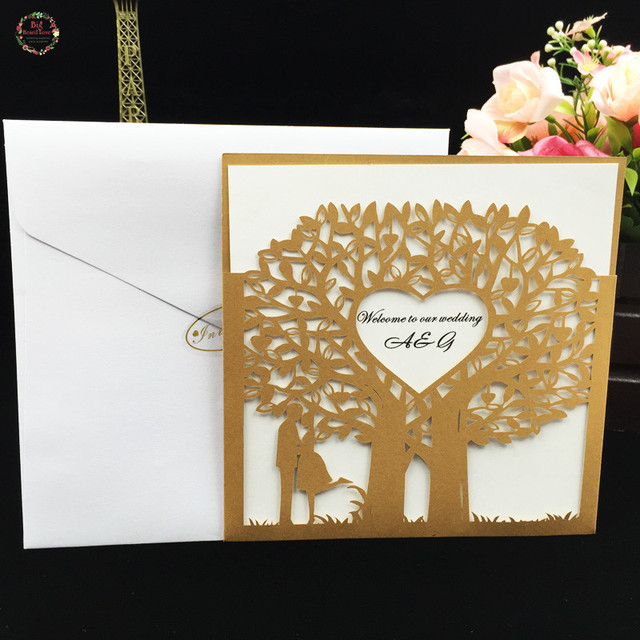 Heard Love 50sets Laser Cut Bride And Groom Tree Wedding Invitations Cards Party Favors