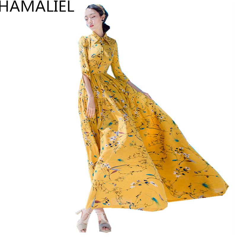 HAMALIEL High Quality Women Long Dress 2018 Summer Chiffon Yellow Printed Floral Lapel Collar Boho Lady Trendy Beach Maxi Dress