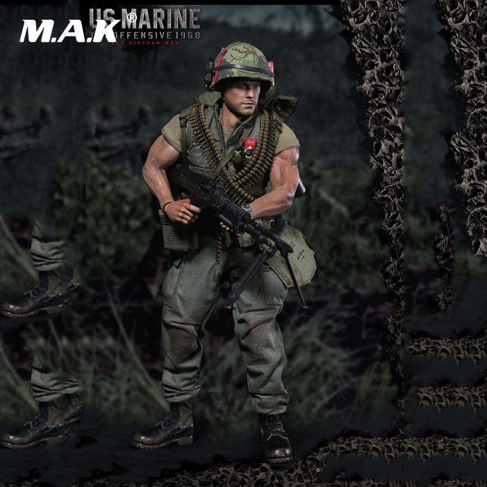 1/6 Male Full Set Figure US Marine Vietnam War Figure Model with Accessories Set Colletible Model Toy Gift for Collection vietnam the real war