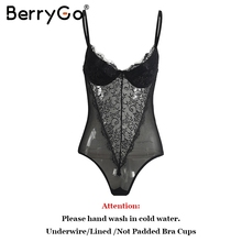 BerryGo Sexy backless lace bodysuit Perspective black skinny fringe jumpsuit romper women Summer party playsuits coveralls