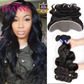 Malaysian Body Wave With Closure 13x4 Ear To Ear Lace Frontal Closure With Bundles 8A Virgin Human Hair 3 Bundles With Closure