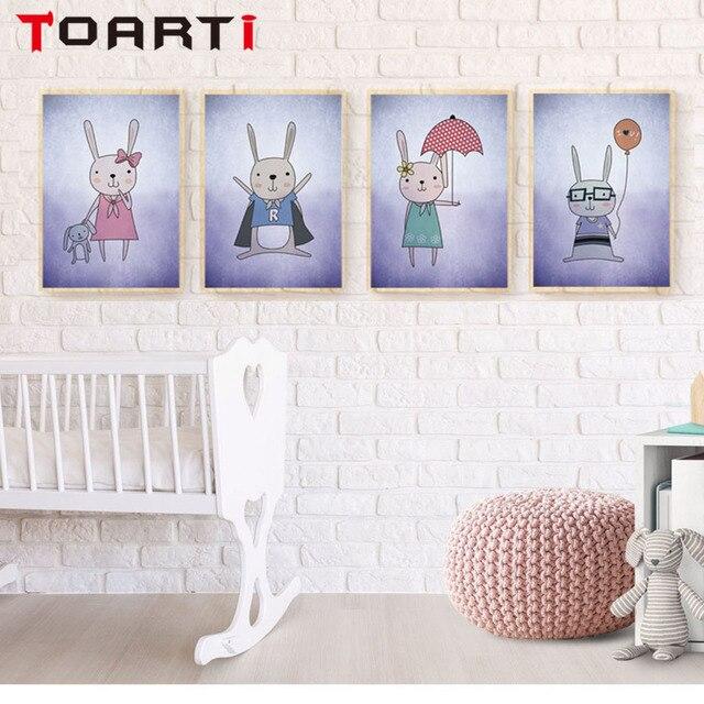 Moderno dibujos animados conejos A4 arte imprimible lienzo pintura ...
