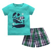 Boys new short sleeve casual round collar top + loose shorts two piece set